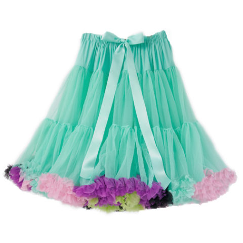 Aqua Blue Multi-Coloured Petticoat